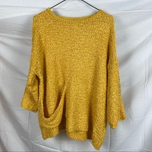 Cotton Village Oversized Mid Sleeve Baggy Yellow Teddy Pullover Jumper Size S/M